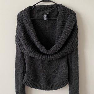 THEORY chunky fold over cold shoulder sweater